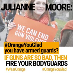 Actress Julianne Moore has armed guards but wants to disarm the regular guy