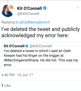 "Kit O' Connell says: ""I've deleted the tweet and publicly acknowledged my error here..."""