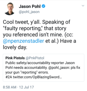 Twitter of Jason Pohl not being accountable