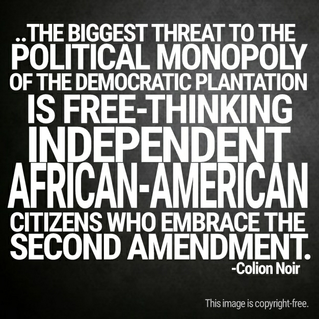 The biggest threat to the political monopoly of the Democratic Plantation is free-thinking indepdendent African-American citizens who embrace the Second Amendment. - Colion Noir