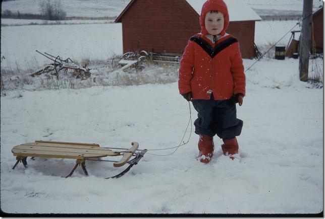 Joe with sled winter 1958 - 1959 (3)